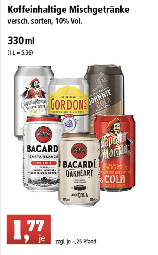Dosen mit Oakheart-Cola, Captain Morgan-Cola, etc.
