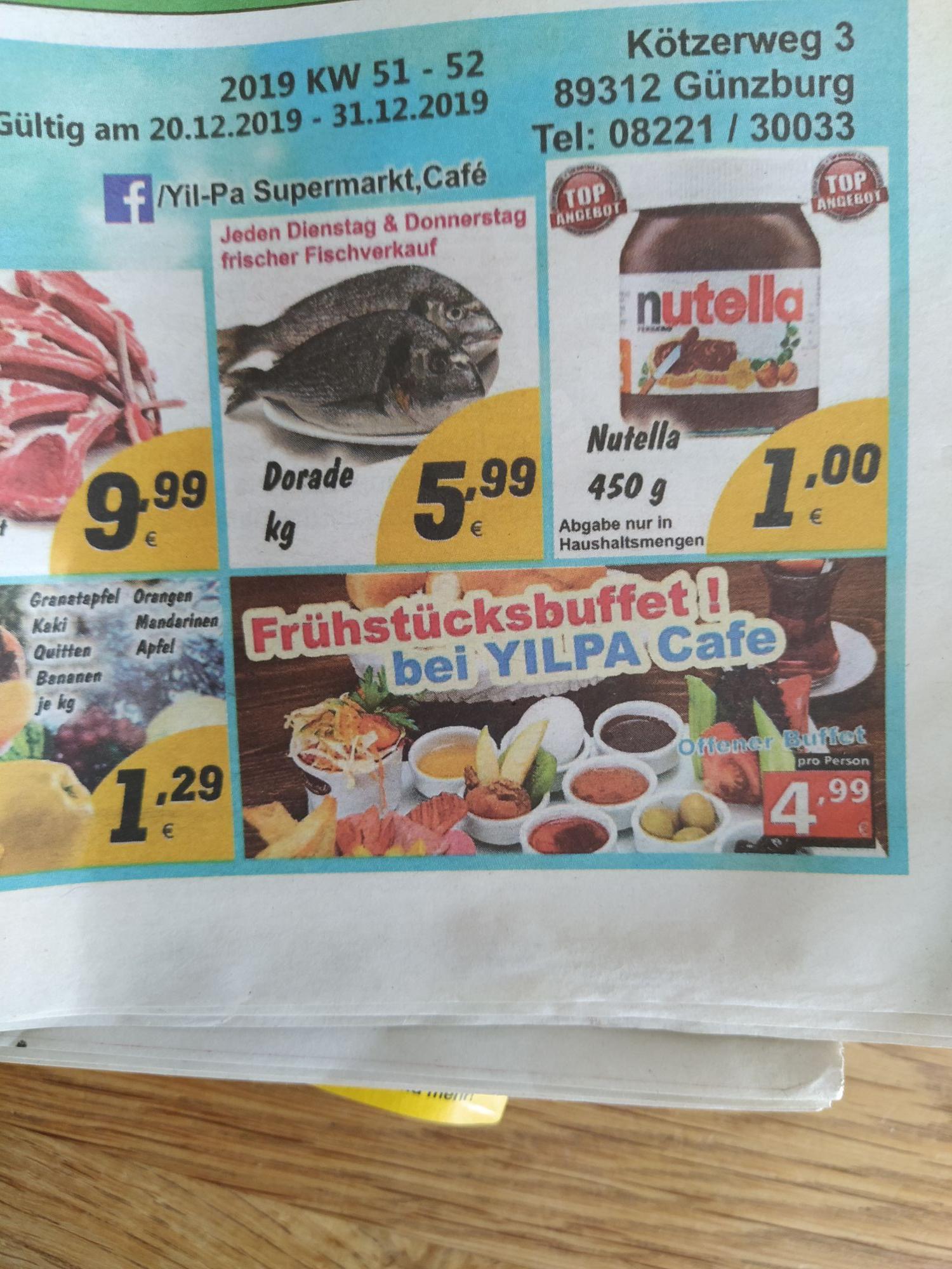 (Lokal Günzburg) Nutella 450g für 1€