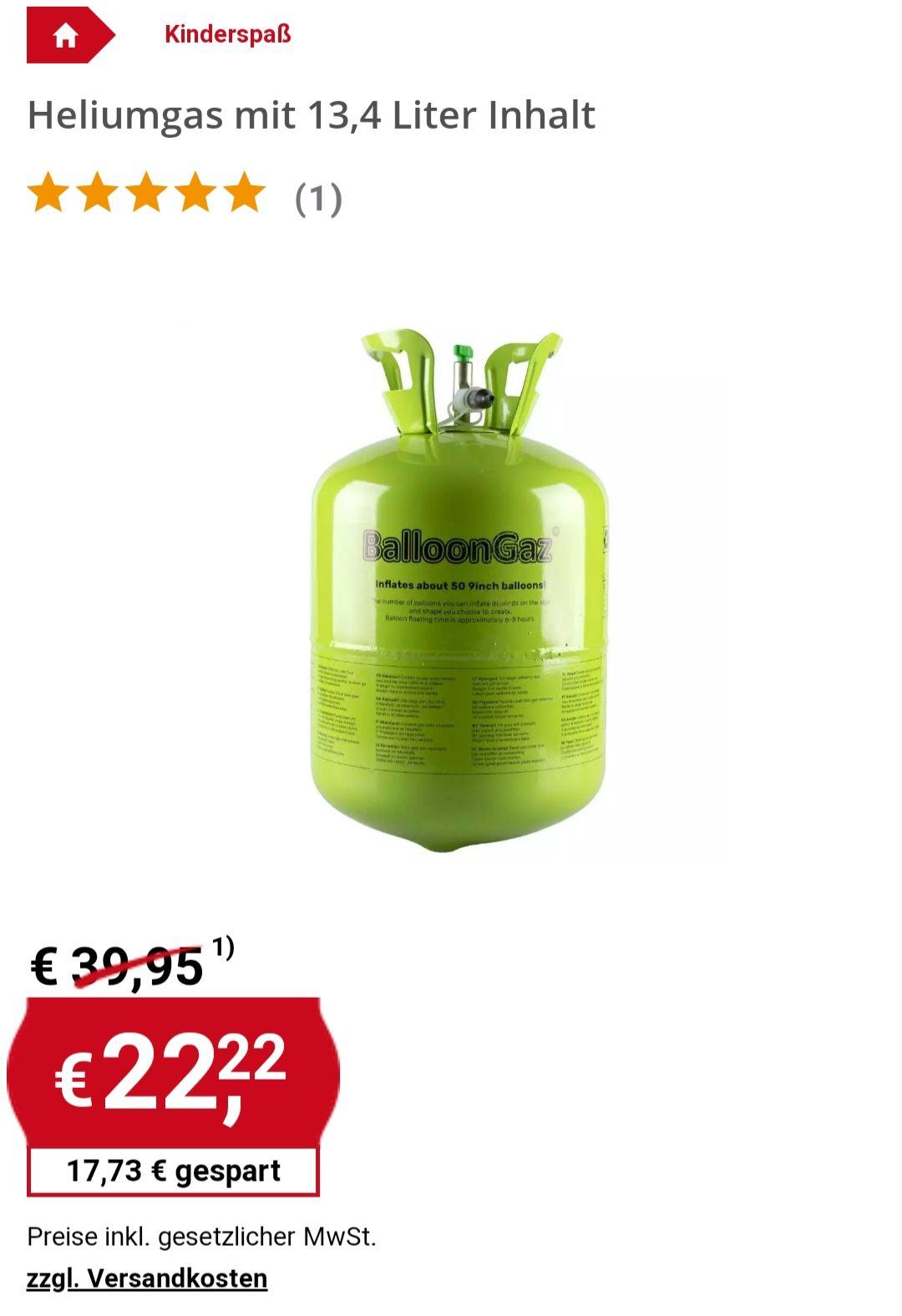 Heliumgas für bis zu 50 Ballons 13,4Liter Hammerpreis