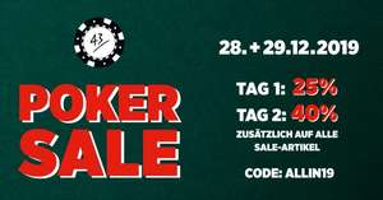 Sneaker Poker Sale bei 43einhalb (25%-40%)