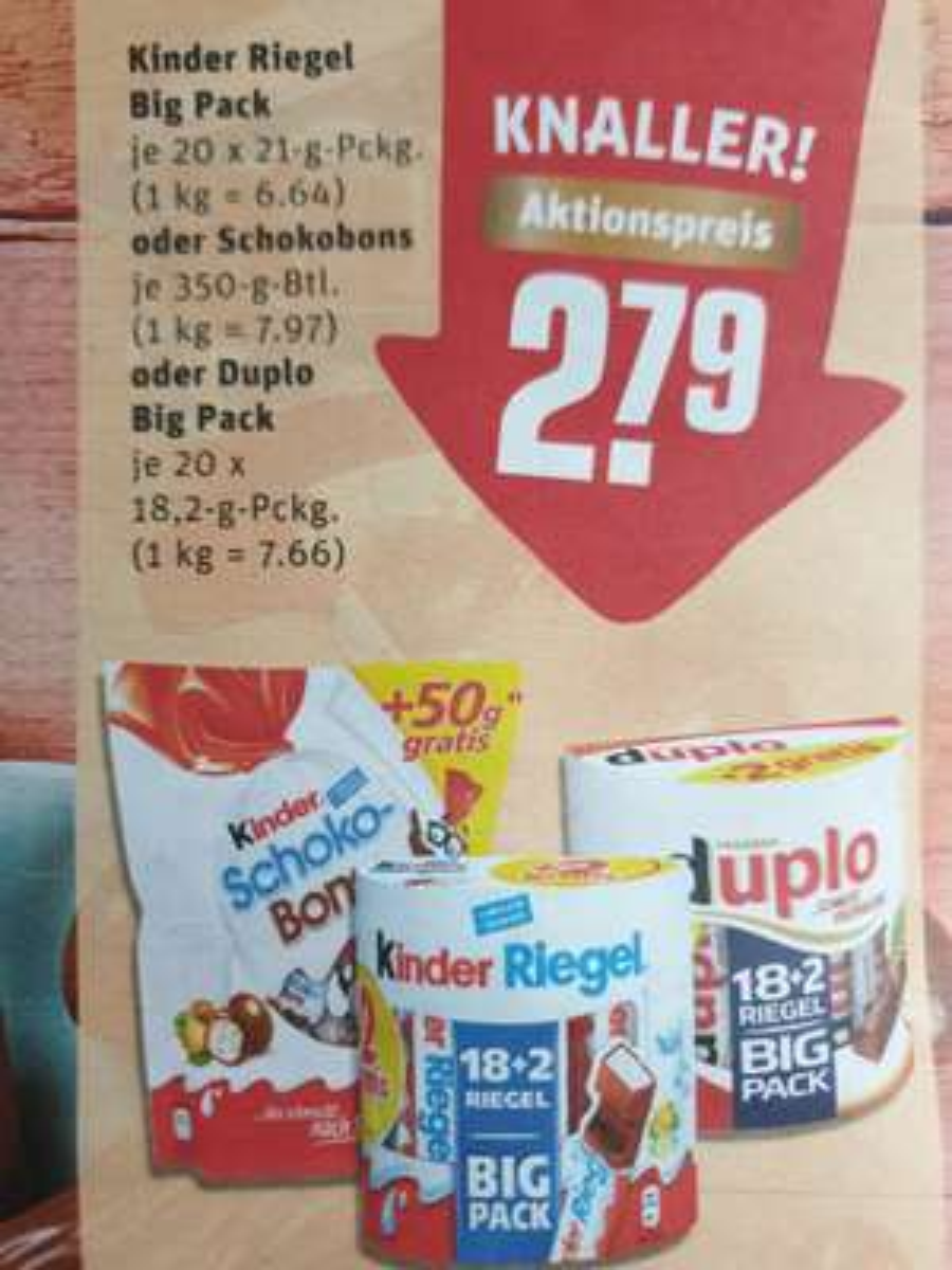 (Rewe,evtl. regional) Kinder-Riegel/Duplo 18+2 gratis / Schokobons + 50g gratis Big Pack Weihnachtsteller!
