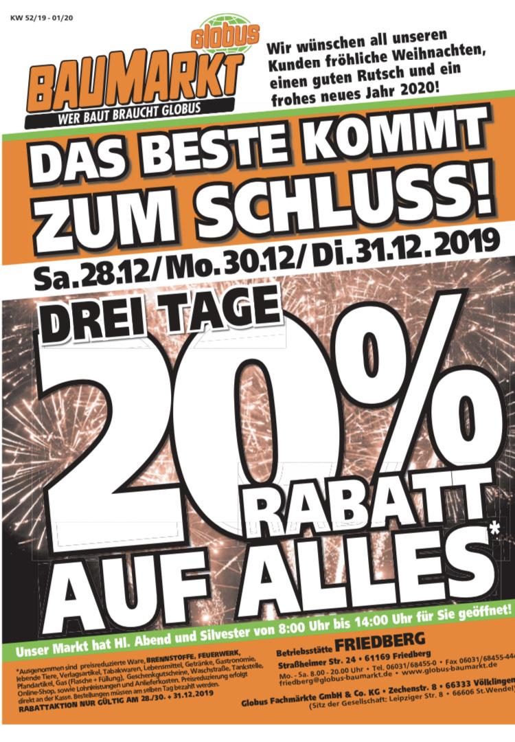 20% auf Alles bei Globus-Baumarkt (Friedberg / bundesweit?)