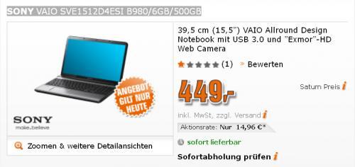 "Notebook 15,5"" SONY VAIO SVE1512D4ESI B980/6GB/500GB  für 449,-"