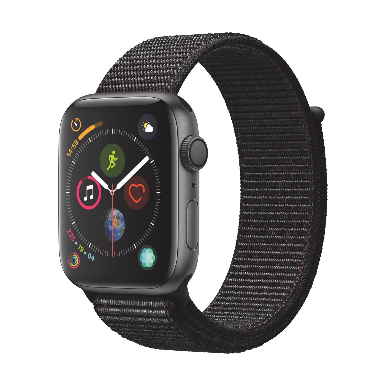 Apple Watch Series 4 GPS 44mm Aluminiumgehäuse Space Grau mit Sport Loop Schwarz