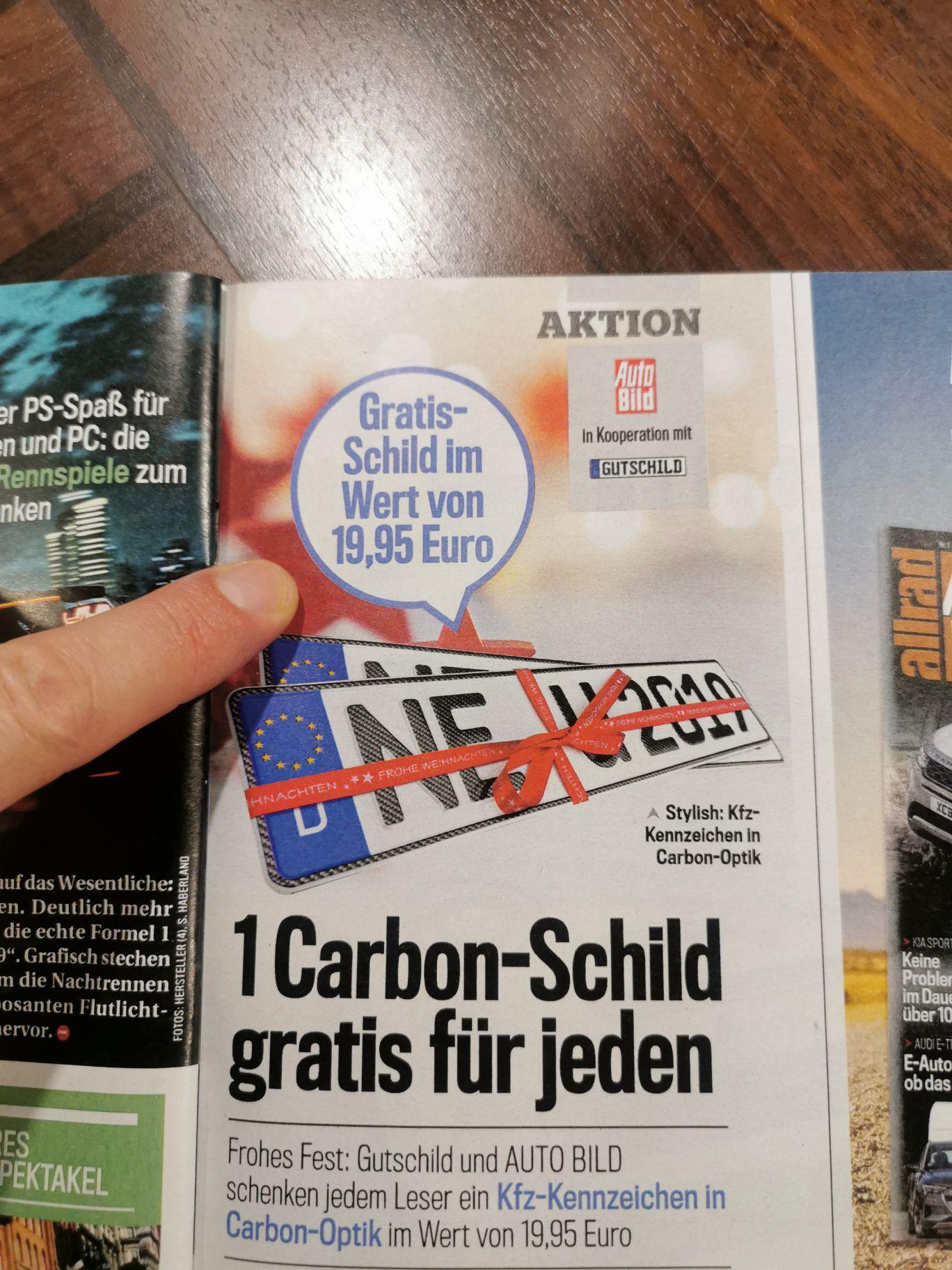 Ein Carbon-Schild gratis für jeden