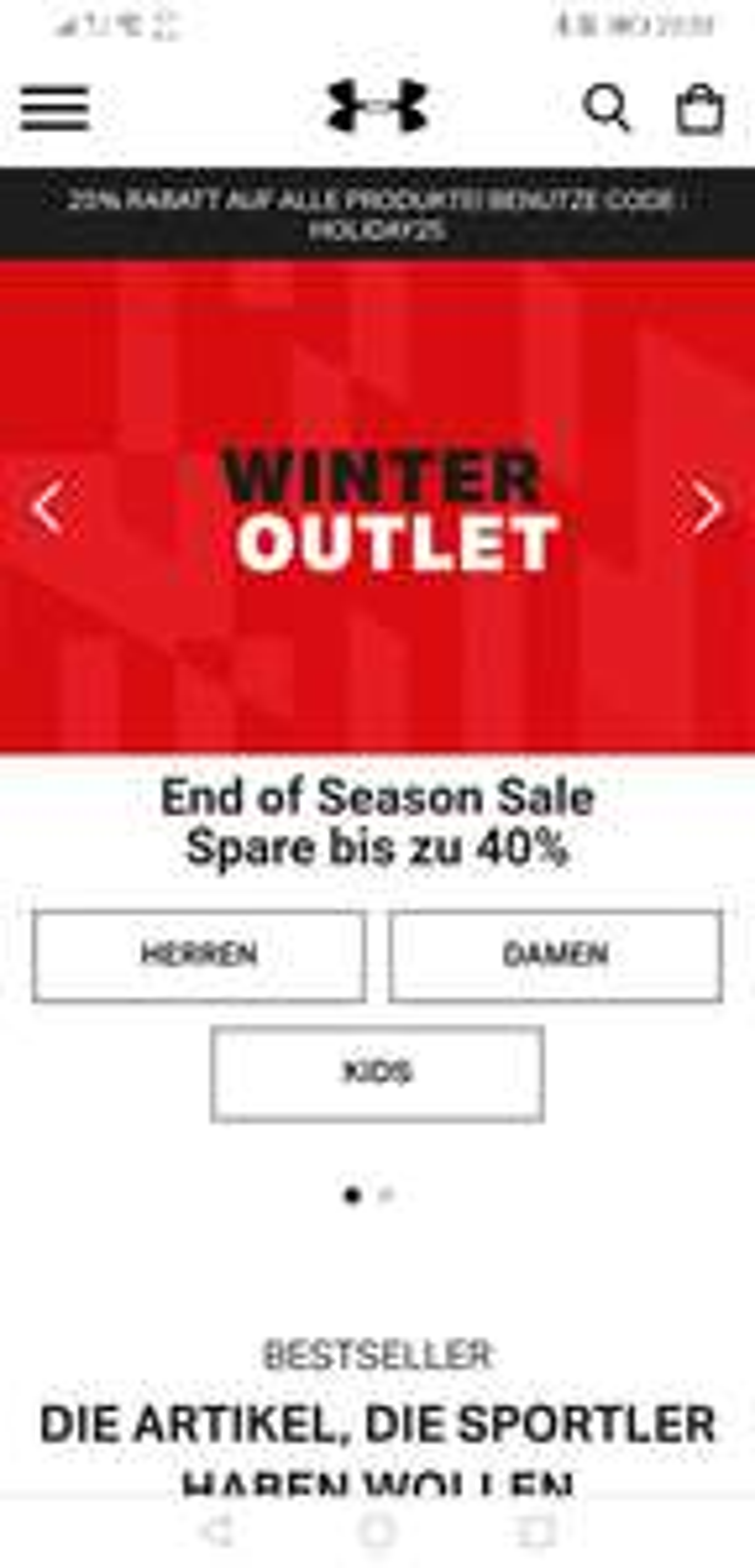 Underarmour Sale bis zu 40% + 25%