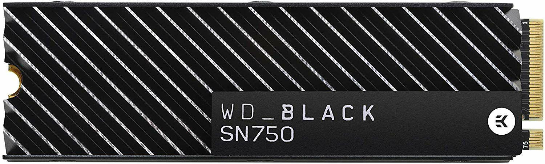 WD Black SN750 NVMe SSD M.2 interne mit Heatsink - 1TB, 3D-NAND TLC, 3470-3000MB/s, 5 Jahre Garantie (Amazon.es)
