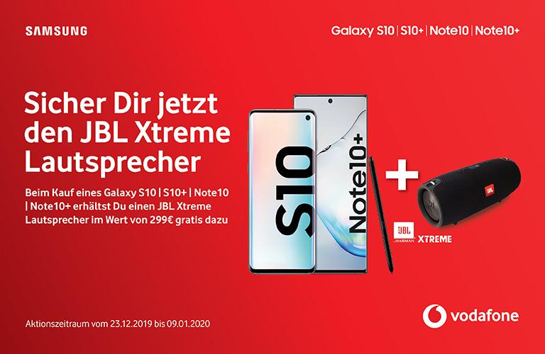 JBL Xtreme Lautsprecher gratis zum Kauf eines Samsung Galaxy S10 | S10+ | Note 10 | Note 10+ bei Vodafone