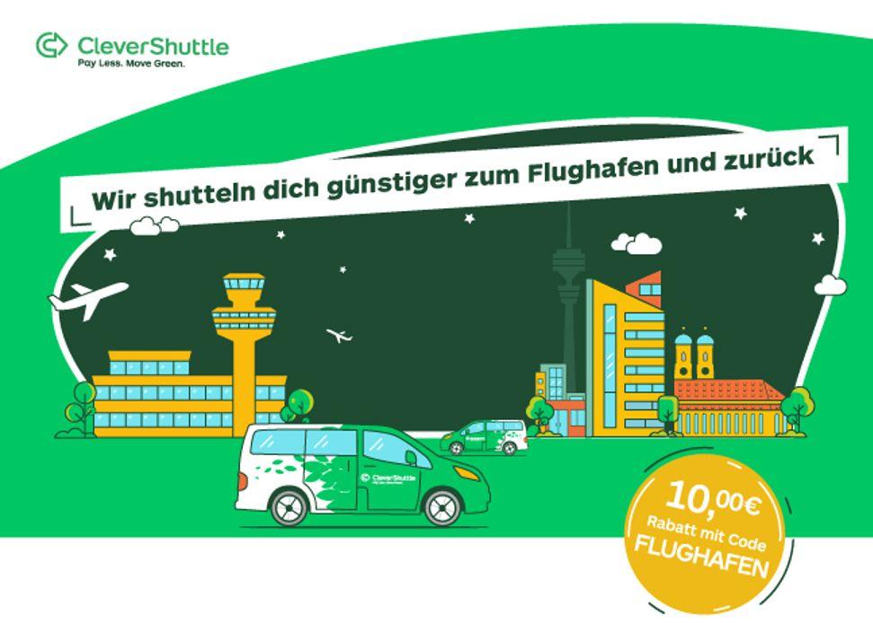 Clevershuttle - 10€ günstiger zum Flughafen in München!