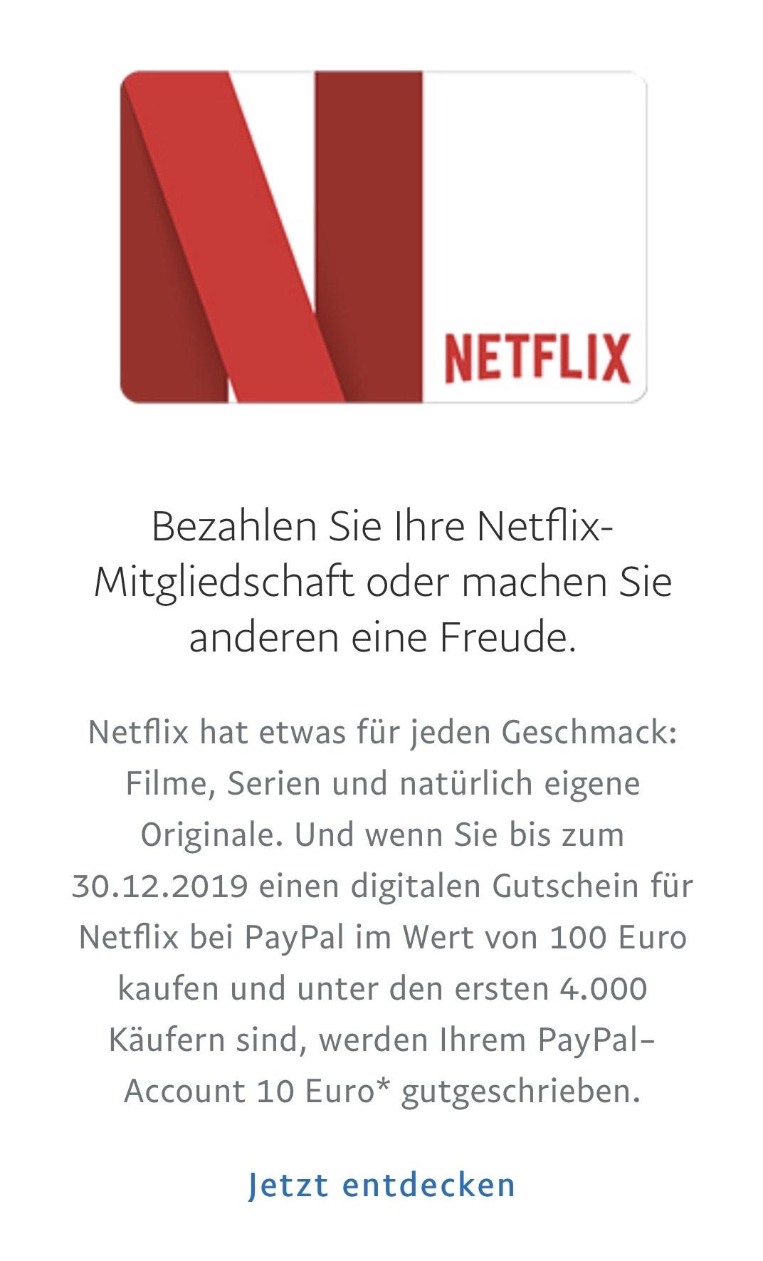 Netflix Gutschein über Paypal mit 10 Euro Gutschrift
