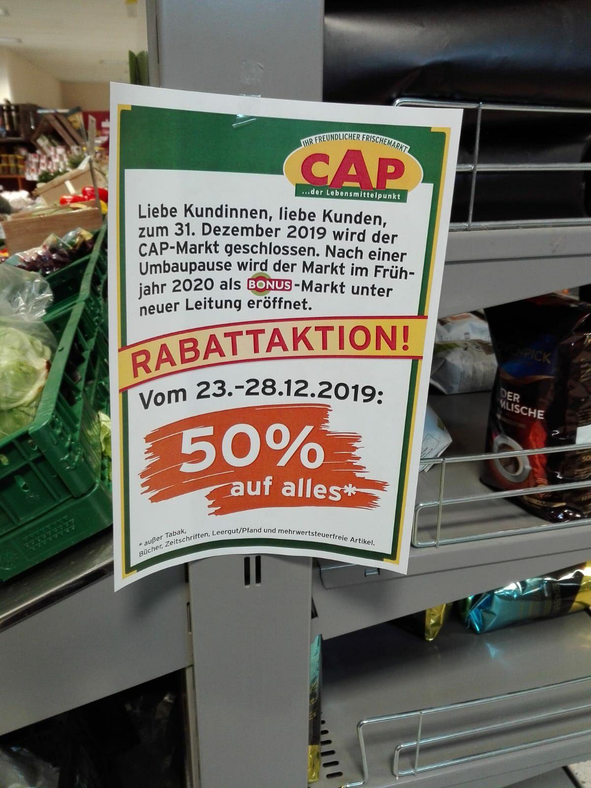 Cap Supermarkt Schließung 50% Rabatt auf das gesamte Sortiment