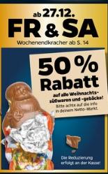 [Netto mit Hund] 50% Rabatt auf alle (Rest-)Weihnachtssüßigkeiten - nur am 27.12. & 28.12!
