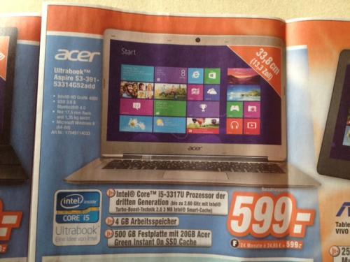 """[offline] Acer Ultrabook Aspire S3-391-53314G52add - 13,3"""" - i5-3317U - 20GBSSD - 4 GB RAM  @EXPERT"""