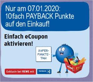 [Rewe] 10fach Payback Punkte am 07.01.2020 (Super-Punkte-Tag) - min.5% Cashback-
