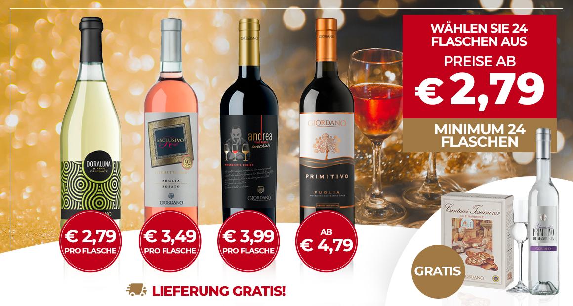 Giordano Weine ab 24 Flaschen versandkostenfrei inkl. einer kleinen Flasche Grappa und Mandel-Cantuccini