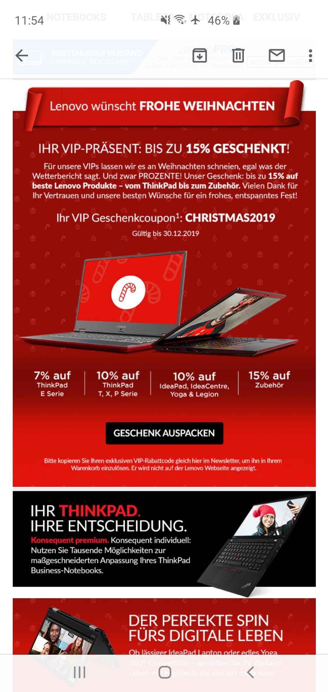 Lenovo VIP-Weihnachtsgeschenk 7-10% ThinkPad IdeaPad IdeaCentre Yoga Legion