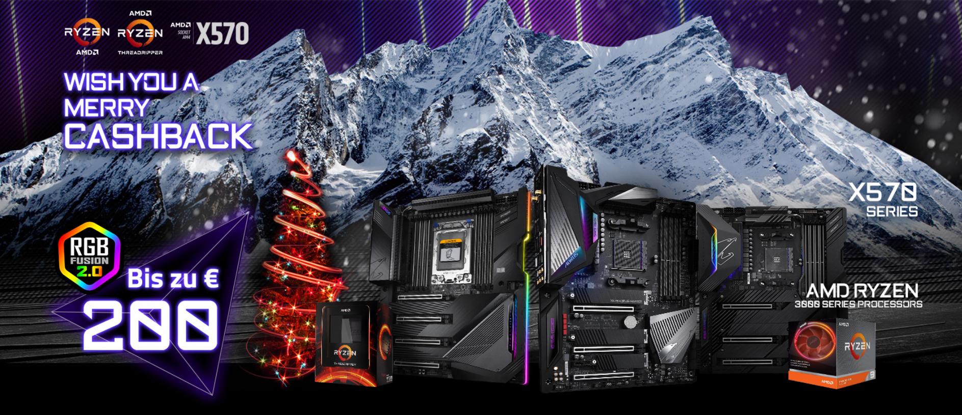 GIGABYTE Merry Cashback Aktion - Bis zu 200€ beim Kauf einer AMD Ryzen CPU und eines TRX40/x570 Mainboards