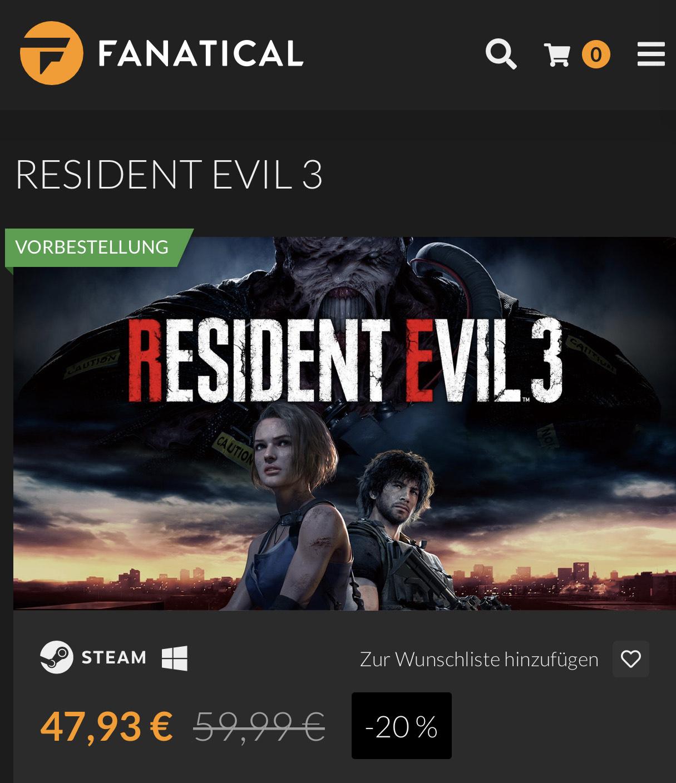 Resident Evil 3 + Bonus Vorbesteller Steam