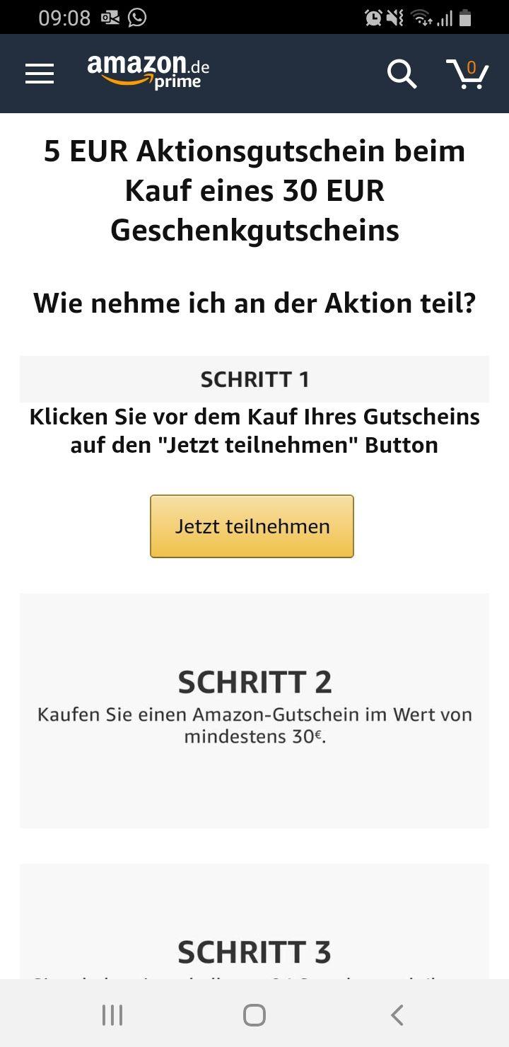 Amazon Gutschein von 30 euro Kaufen und 5 euro sparen
