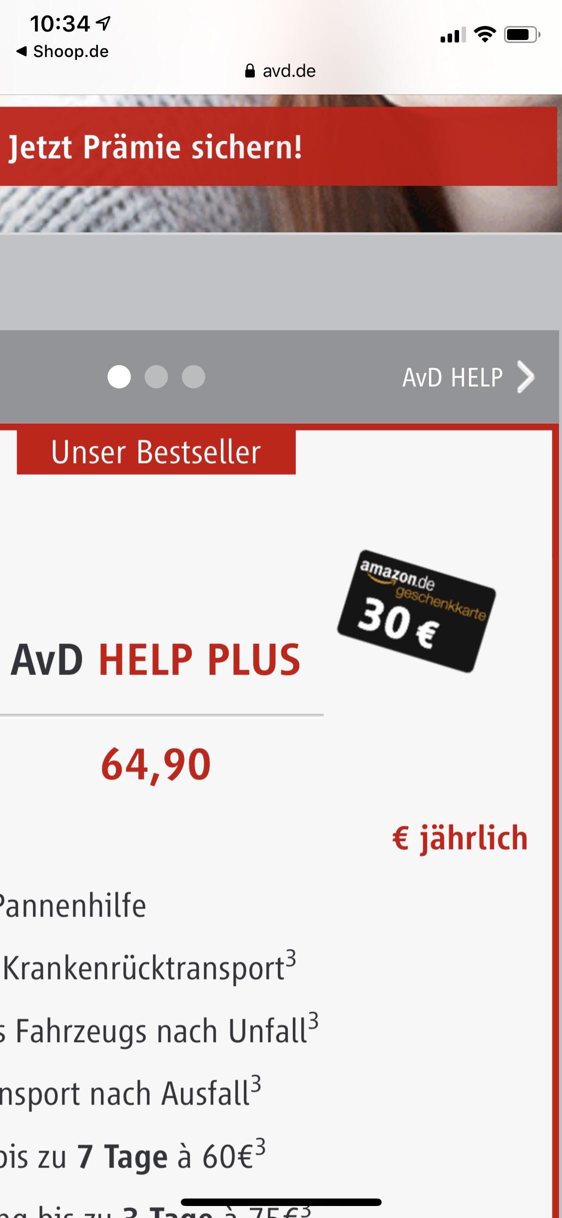 AvD Help Plus Mitgliedschaft mit 30€ Amazon und 12€Shoop