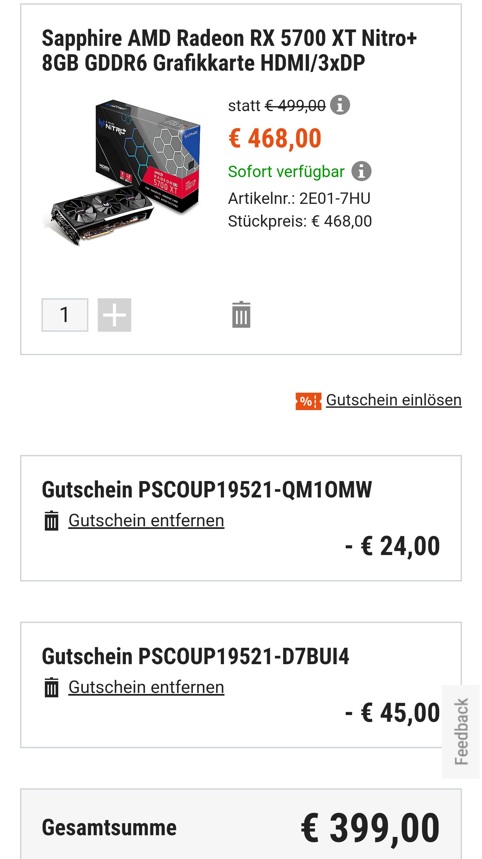 Sapphire AMD Radeon RX 5700 XT Nitro+ bei Cyberport für 399€ zzgl. 5,99€ Versand!