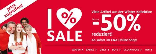 Über 50%-Rabatt beim C&A Onlineshop. T-Shirts ab 2,50€, Jeans ab 9,00€ und vieles mehr!