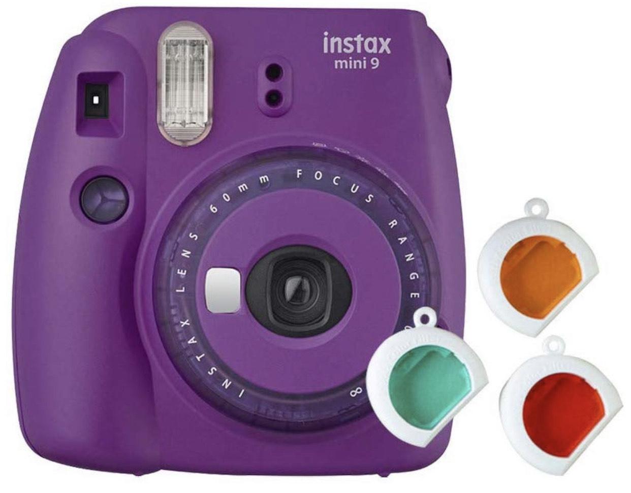 Fujifilm Instax Mini 9 Kamera mit Farblinsen - Lila & Gelb