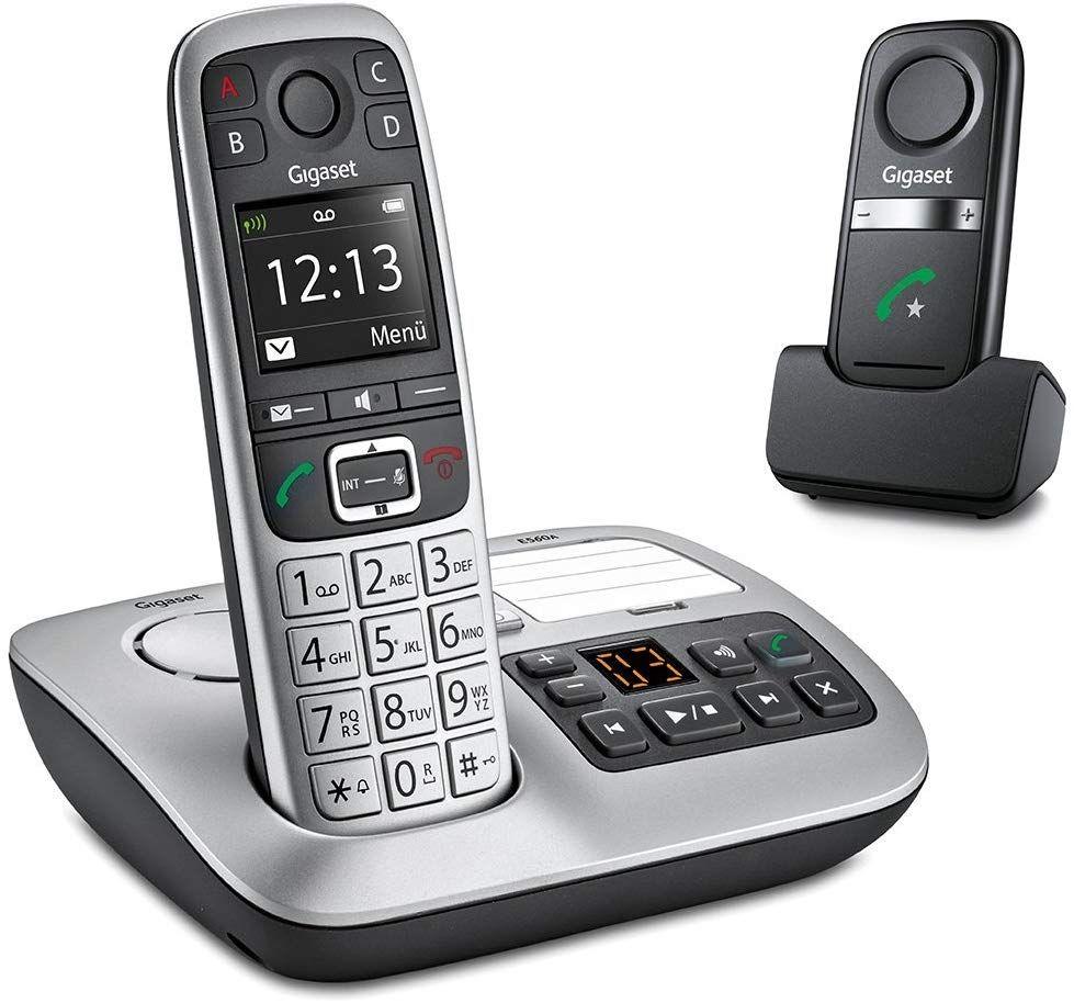 Gigaset E560A Plus Schnurloses Telefon (mit Anrufbeantworter und Freisprech-Clip, DECT mit Farbdisplay, SOS-Notruf Funktion) [Amazon]