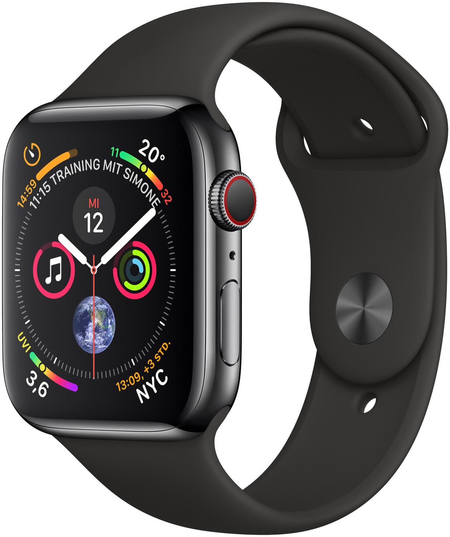 Apple Watch Series 4 GPS Cellular LTE 44mm EDELSTAHLGEHÄUSE spaceschwarz Sportarmband für 419€ inkl. Versandkosten - [Cyberport ebay]