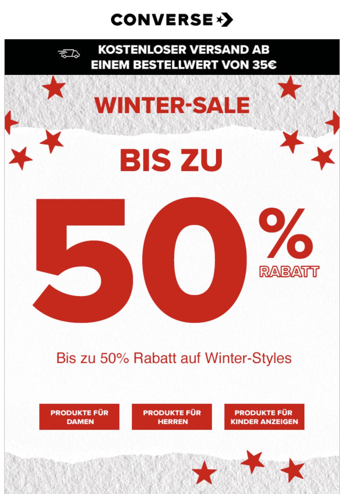 Converse: Sale mit bis zu 50% Rabatt + 20% Extra dank