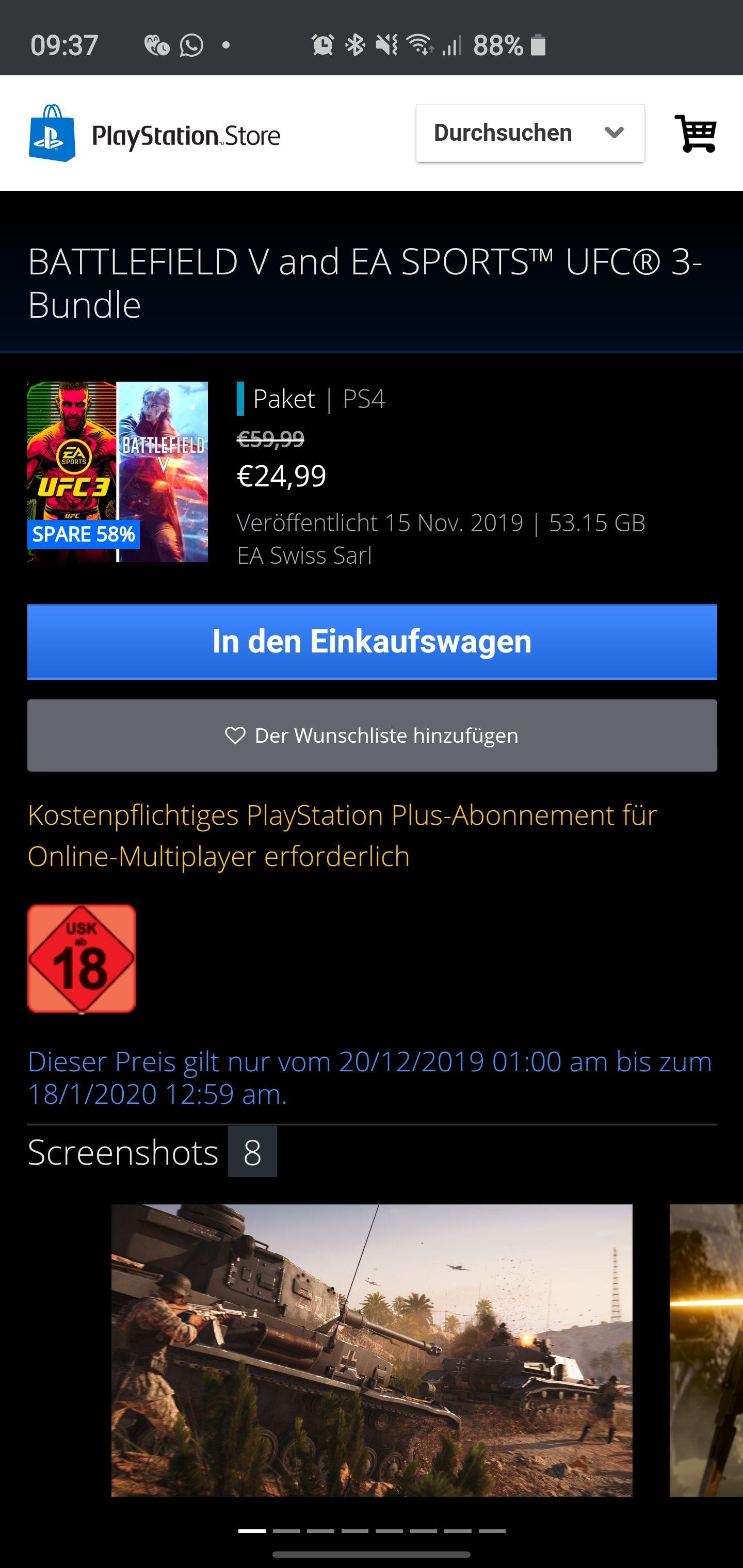 Battlefield V & UFC 3 Bundle für PS4