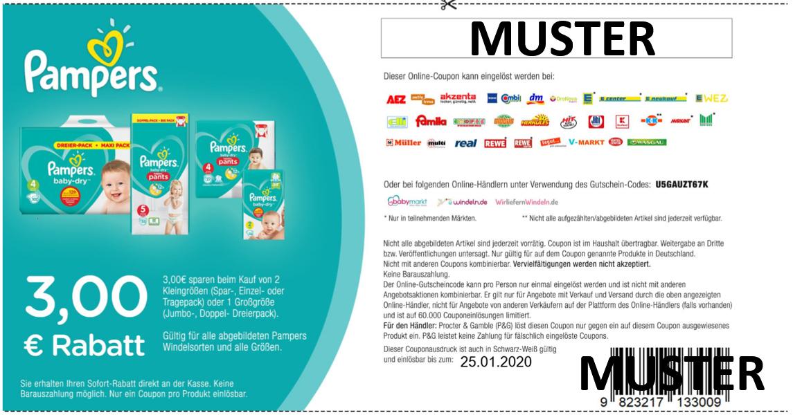 3,00€ Pampers Coupon offiziell zum Ausdrucken für 1x Groß- bzw. 2x Kleinpackung Baby-Dry Windeln oder Pants [2020]