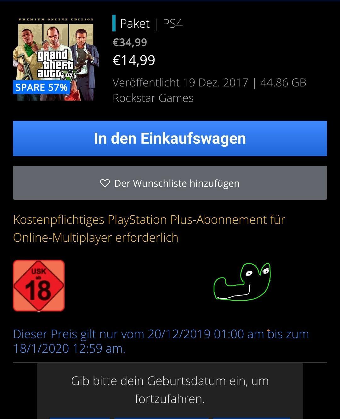 | PSN | GTAV Premium 14,99€ | Playstation | PS4