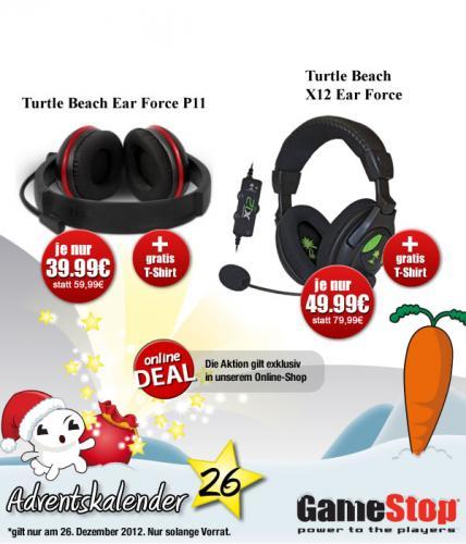 [online] Gamestop Adventskalender Headset Turtle Beach Ear Force P11 für 39,99 € + Shirt, Turtle Beach TB X12 Ear Force für 49,99 €  + Shirt