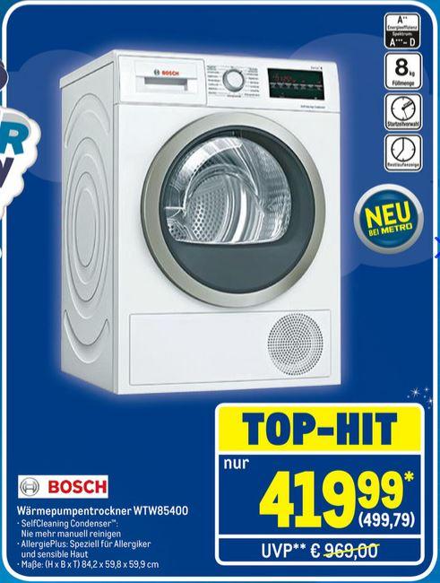 Bosch WTW85400 Wärmepumpentrockner / Nennkapazität:8kg / Energieeffizienzkl.:A++