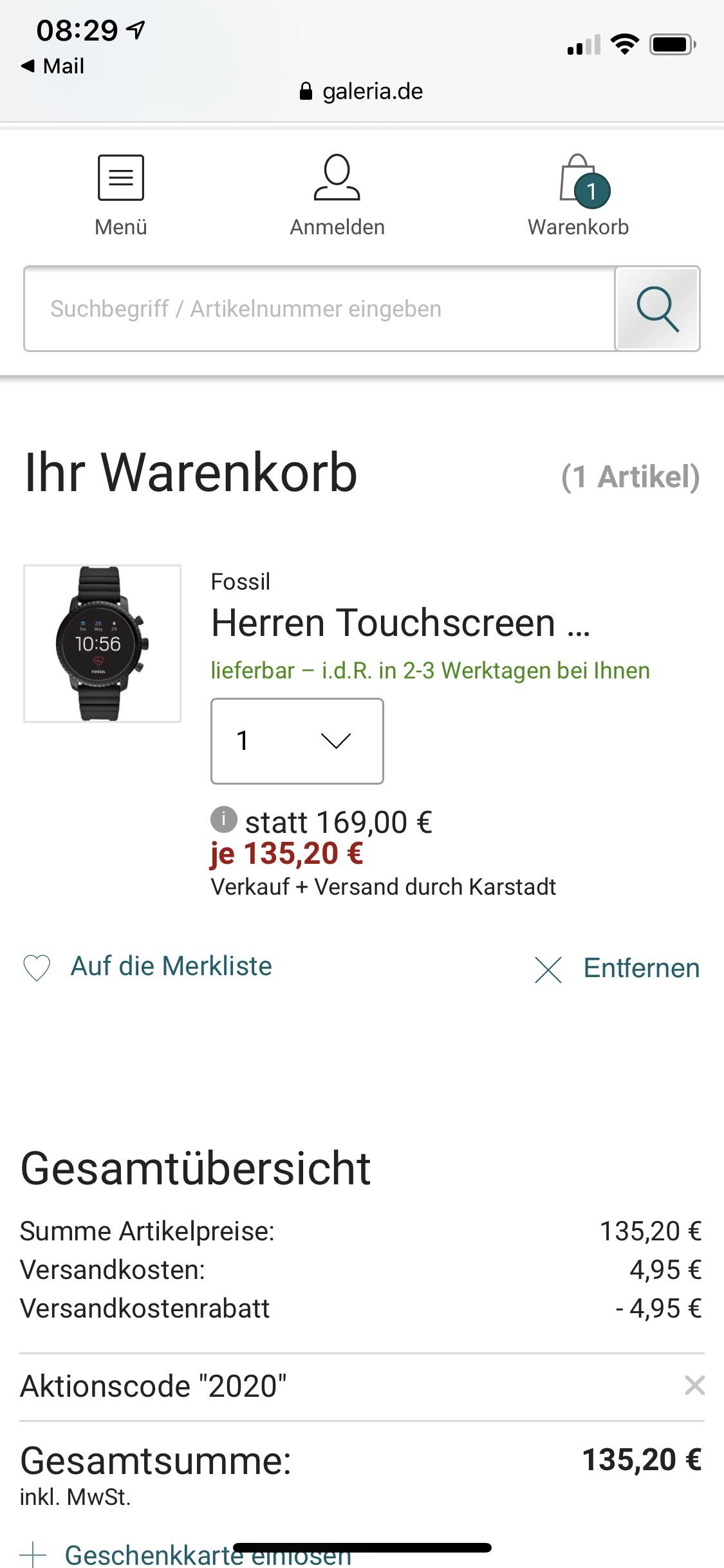 Galeria smartwatches 20% Gutschein FTW4011 Oder FTW4018