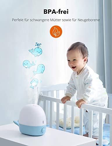 TaoTronics Luftbefeuchter für Baby/ Kinderzimmer 2,5l, Humidifier + Nachtlicht