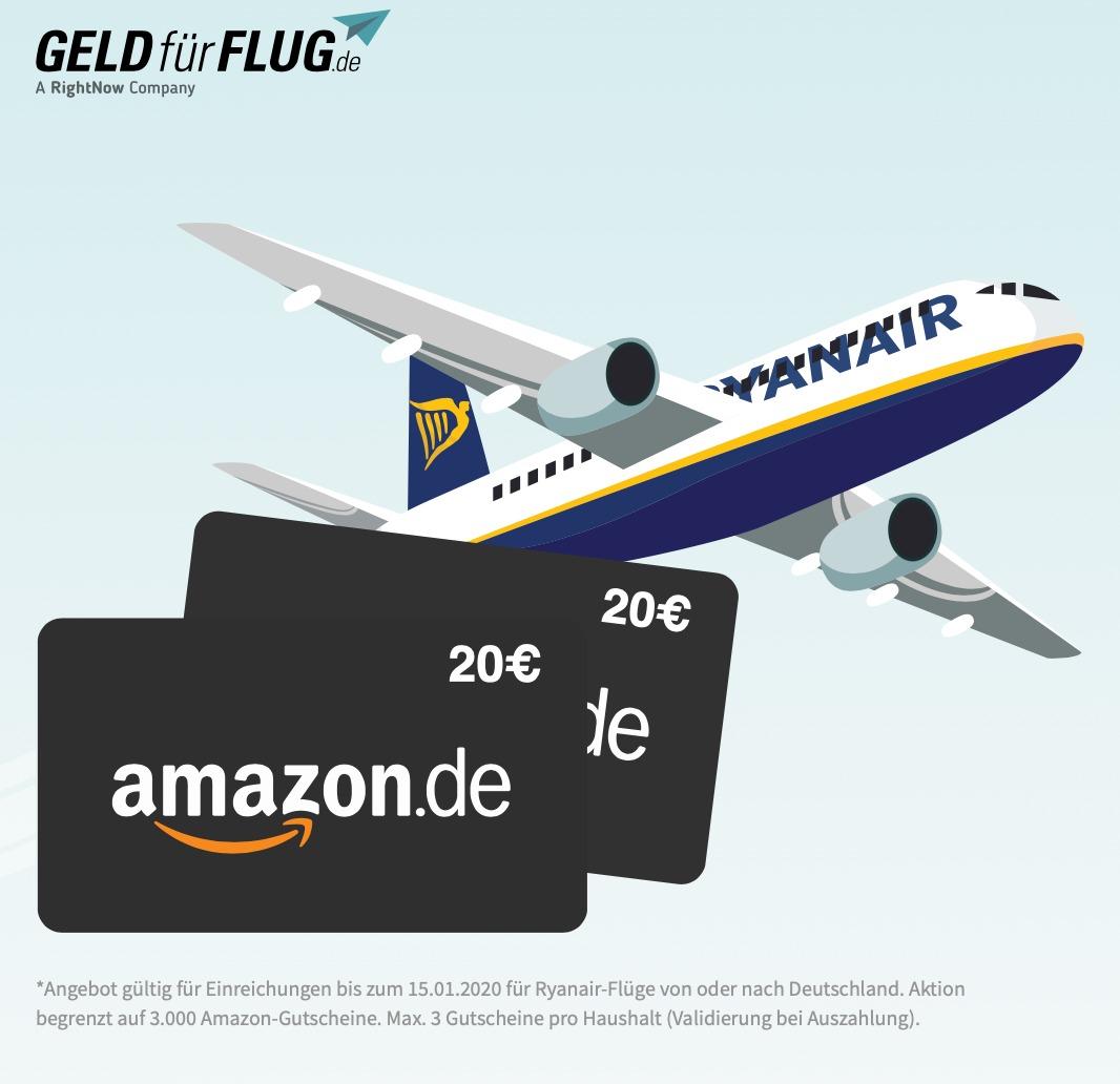3x20€ Amazon-Guthaben GRATIS - für Ryanairflüge