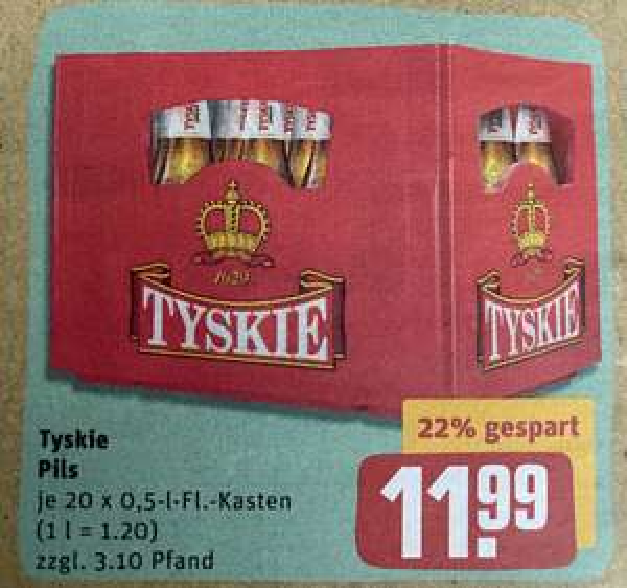 [Rewe] Tyskie Piwo Bier 20x0,5l Kiste für 11.99€ | Pepsi & Schwip Schwap 1,5l Flasche für 0.49€