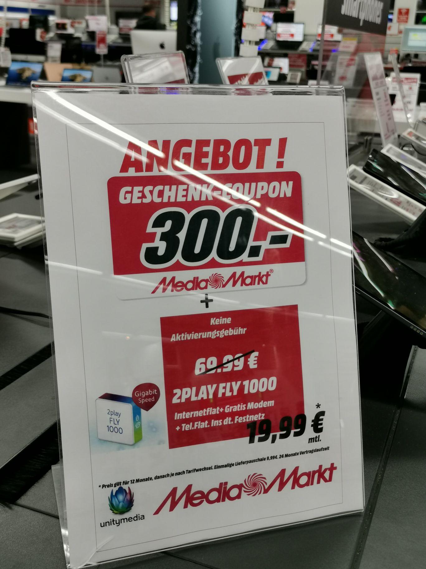 Unitymedia 2Play 1000Mbits für 19,99€ und 300€ MediaMarkt coupon