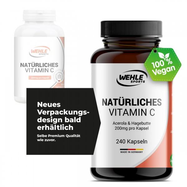 2x Wehle Sports natürliches Vitamin C (Acerola Extrakt & Hagebutten Extrakt) - insgesamt 480 Kapseln a 200mg Vit. C
