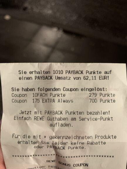 [REWE / Payback] always Binden ab effektiv 0,24€ mit Payback-Coupon - dank 1,75€ Payback