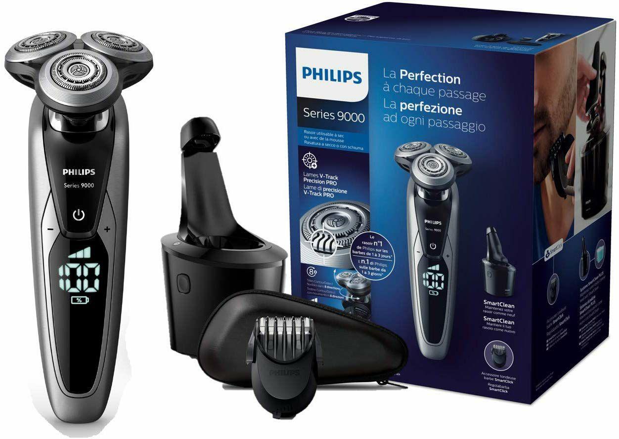 Philips S9711/32 Series 9000 Herrenrasierer mit V-Track-Pro-Klingen, SmartClean Reinigungsstation, Bartstyler (Amazon.es)