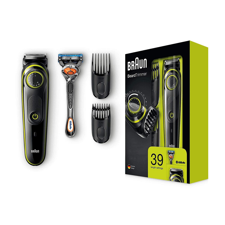 Braun Barttrimmer und Haarschneider BT3041, 39 Längeneinstellungen, inkl. Gillette Rasierer für 29,99€ (Amazon)