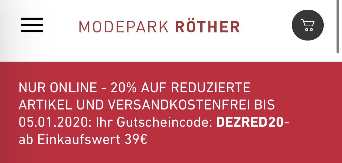 20% ZUSÄTZLICH auf alles REDUZIERTE bei Modepark.de + Kostenloser Versand