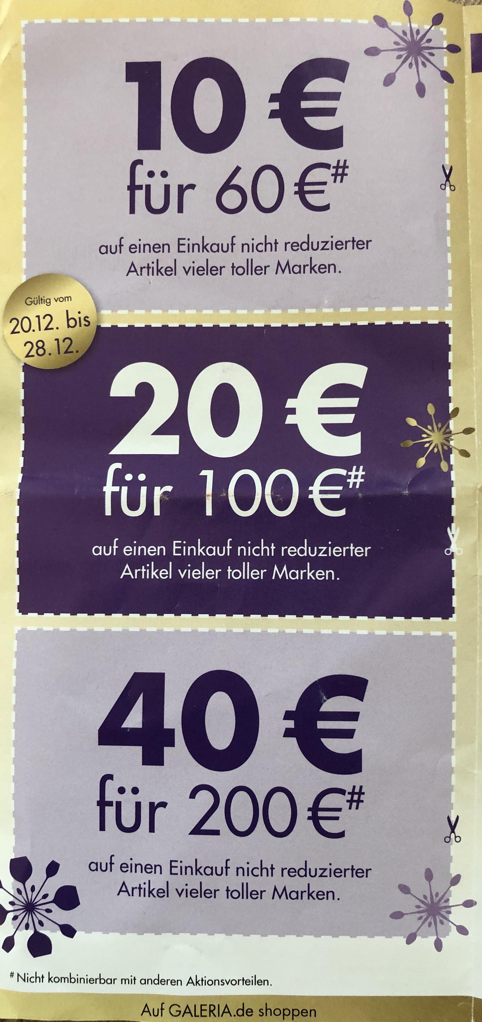 Karstadt: 10€ bei 60€ MBW, 20€ bei 100€, 40€ bei 200€