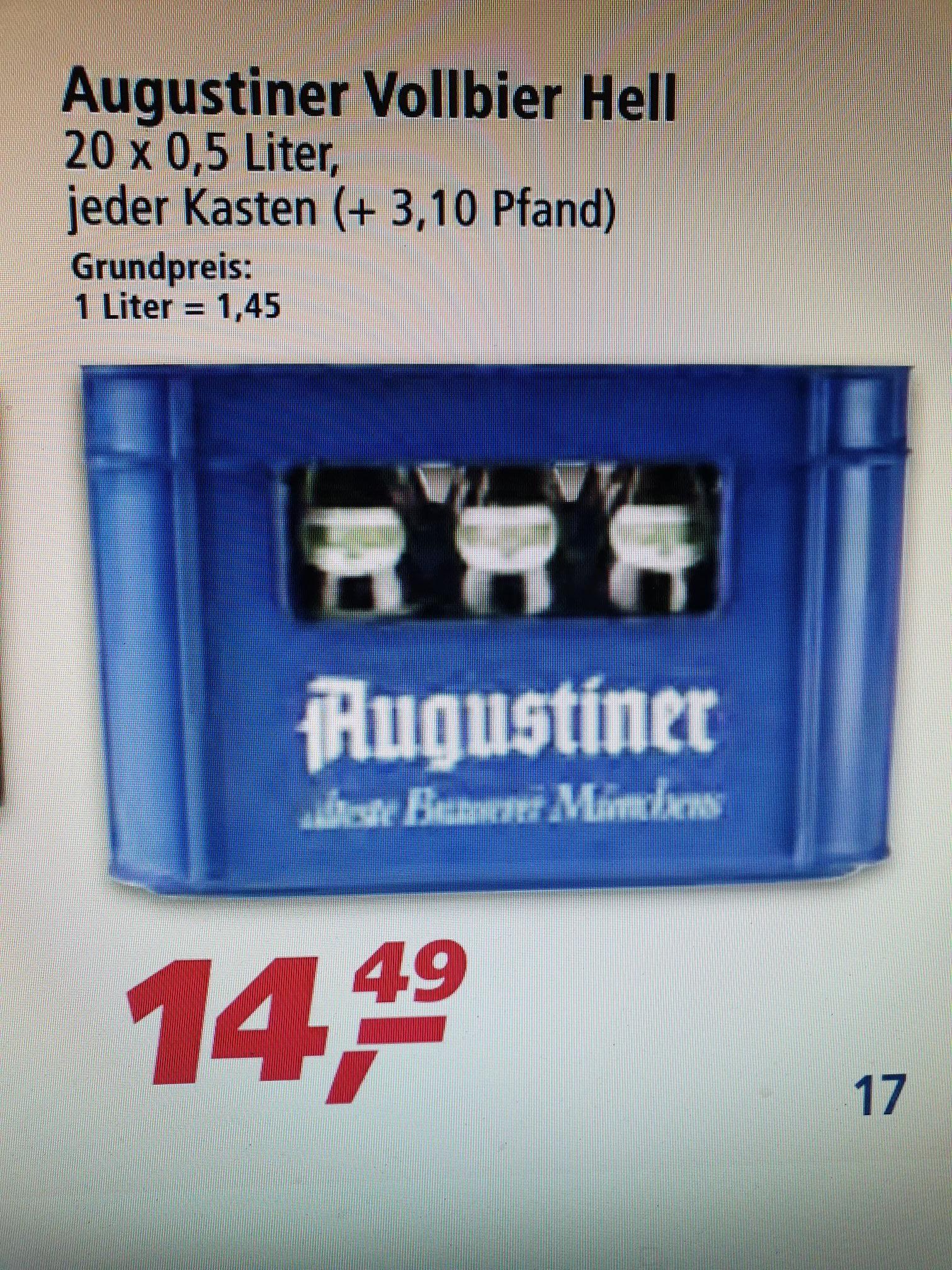 (Real-Markt evtl. lokal) Augustiner Helles Vollbier Kiste 20 x 0,5 Liter für 14,49€ Bier