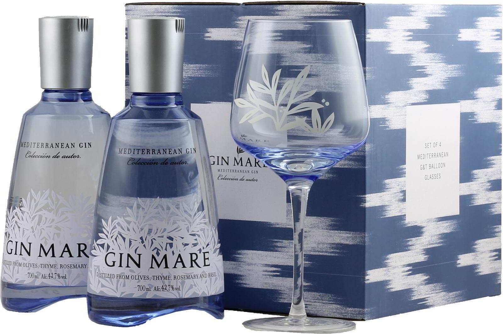 2x Gin Mare 0,7 und 4x Ballongläser