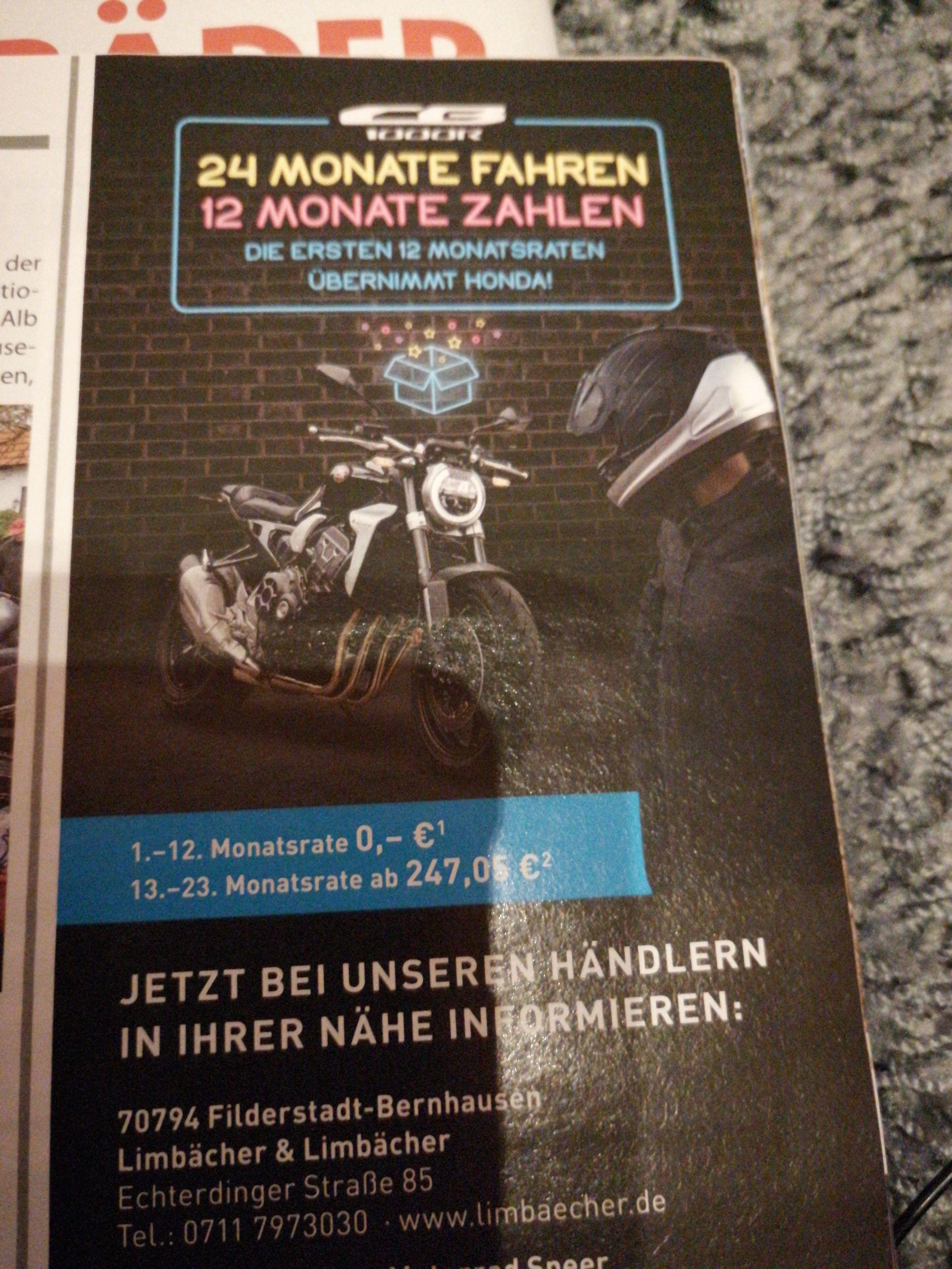 Honda CB 1000R 24 Monate fahren 12 Monate bezahlten (12tkm /24 Monate)