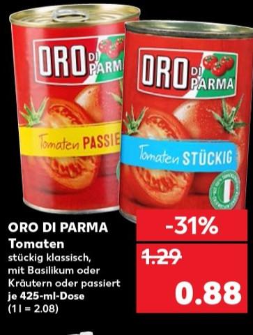 Kaufland - ORO Di Parma 0,88 Euro / Kinder Schokolade 1,49 / Ritter Sport 0,59